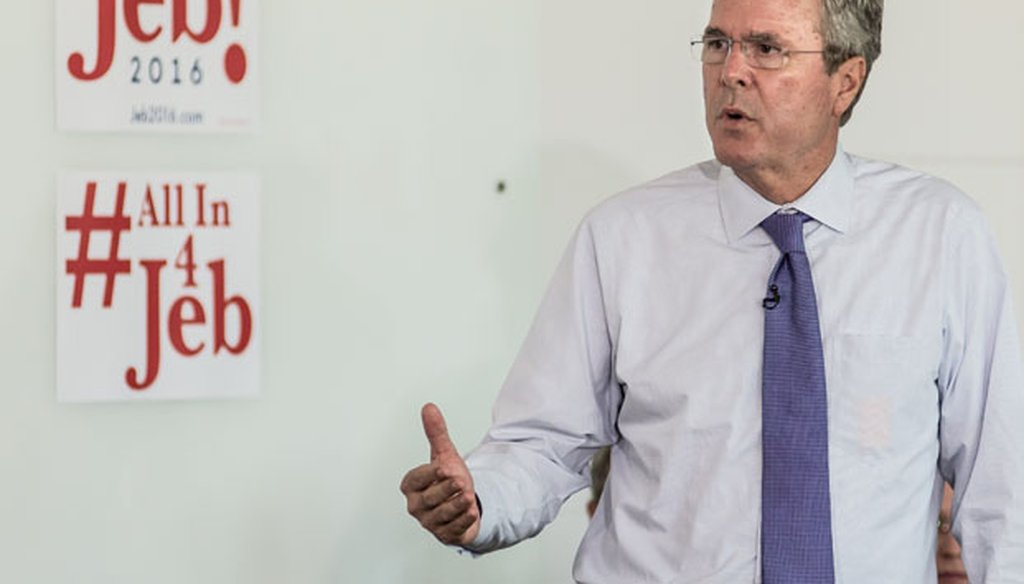 Former Florida Gov. Jeb Bush answers questions from employees of Nephron Pharmaceutical Company on June 29, 2015, in West Columbia, S.C. (Getty Images)