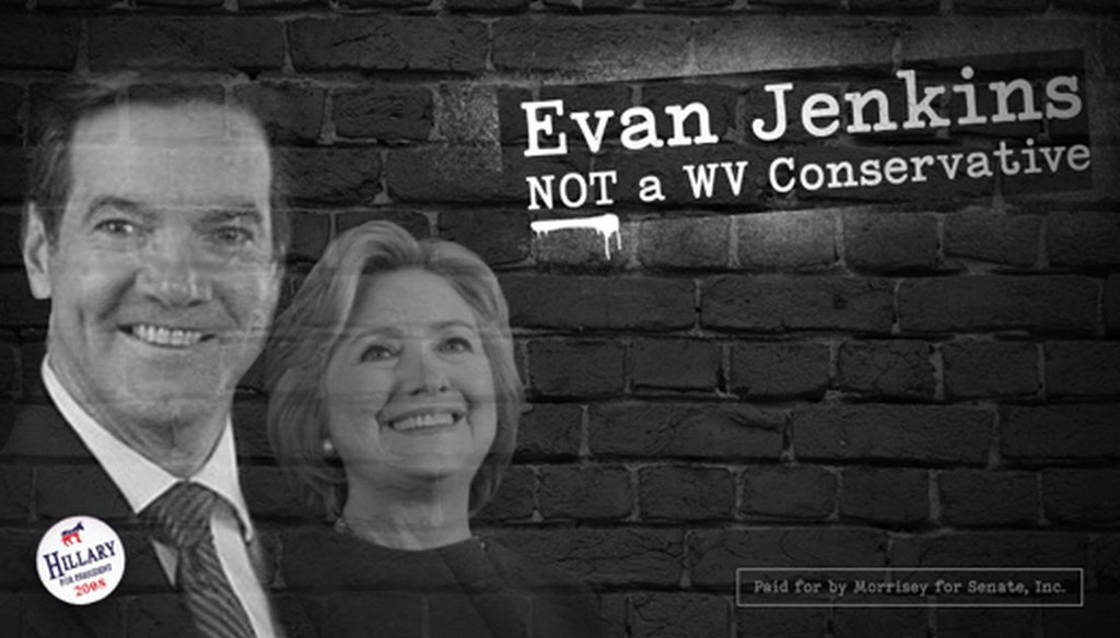 A campaign ad put out by Patrick Morrisey linking Evan Jenkins to Hillary Clinton is misleading. Jenkins did not endorse or openly support Clinton in 2008.