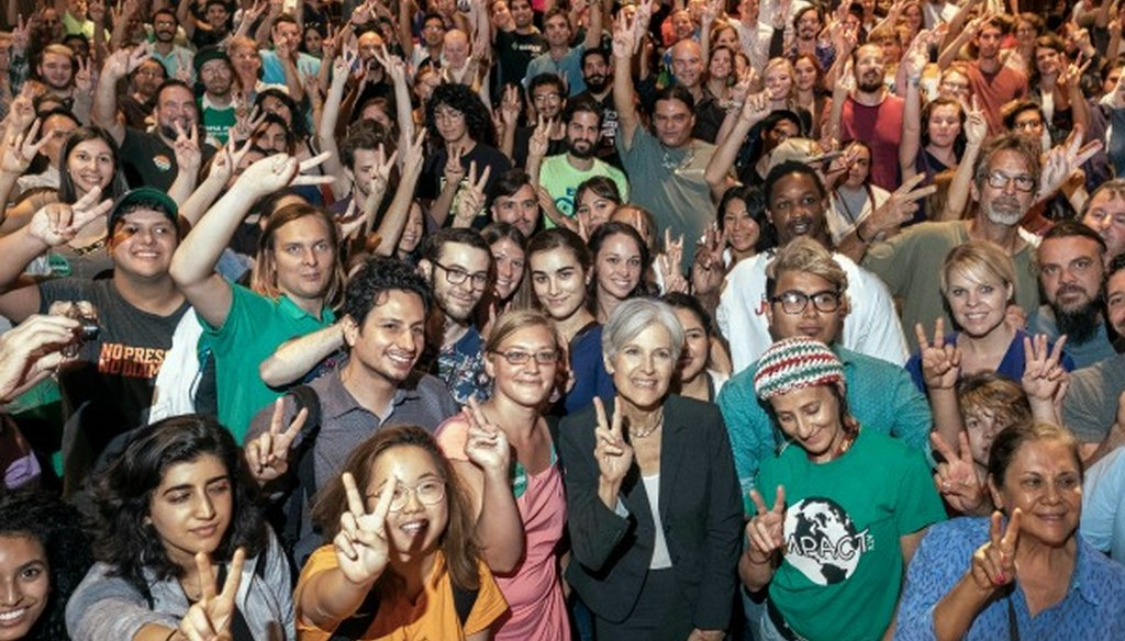 Green Party presidential nominee Jill Stein, shown here with supporters at an Austin, Texas, rally Oct. 17, 2016, made a True claim about countries being bombed by the U.S. (Austin American-Statesman photo, Rodolfo Gonzalez).