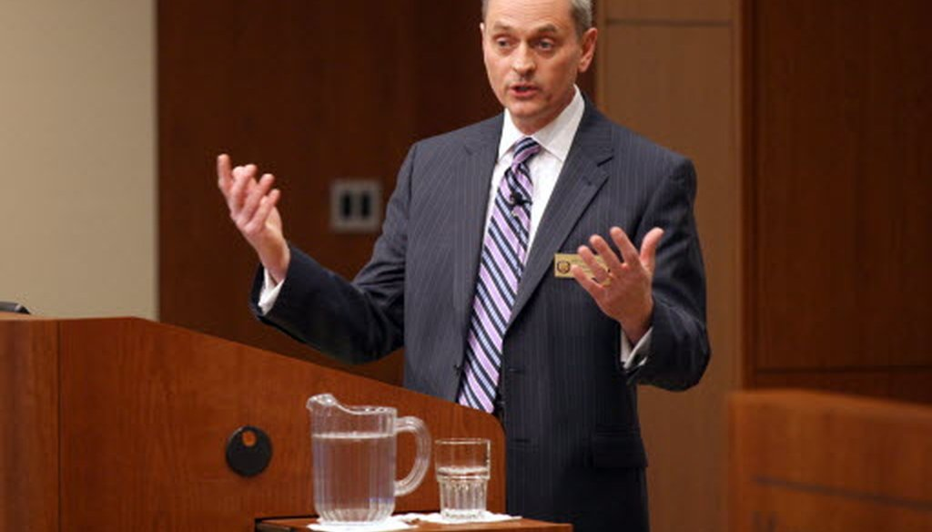 State Rep. Joe Sanfelippo spoke at a joint forum of the Milwaukee Press Club and Marquette Law School on the future of the Milwaukee County Board on Thursday, April 4, 2013