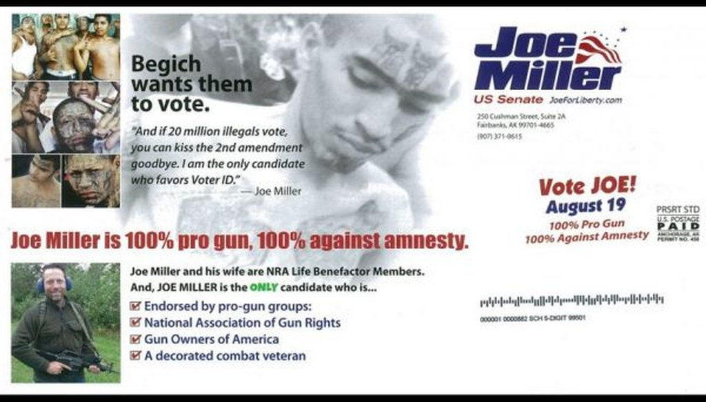 A mailer from the Joe Miller campaign.