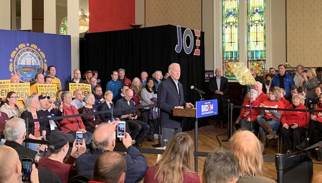 Former Vice President speaks to a small crowd of 200 people in Somersworth, N.H. on Feb. 5, 2020. (Josie Hollingsworth/PolitiFact)