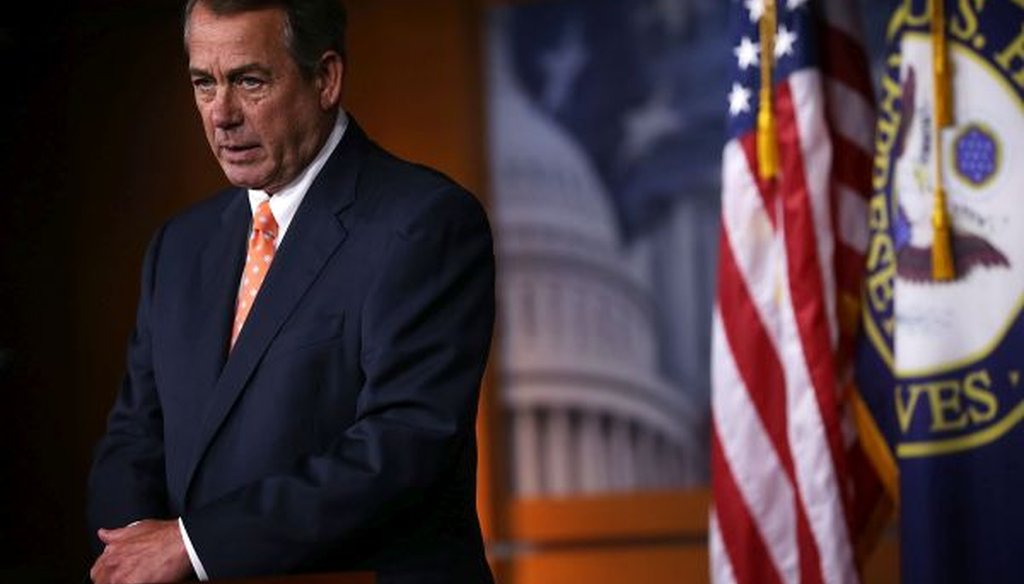 House Speaker John Boehner addresses the media during a weekly news conference on July 16, 2015, at the Capitol. (Getty)