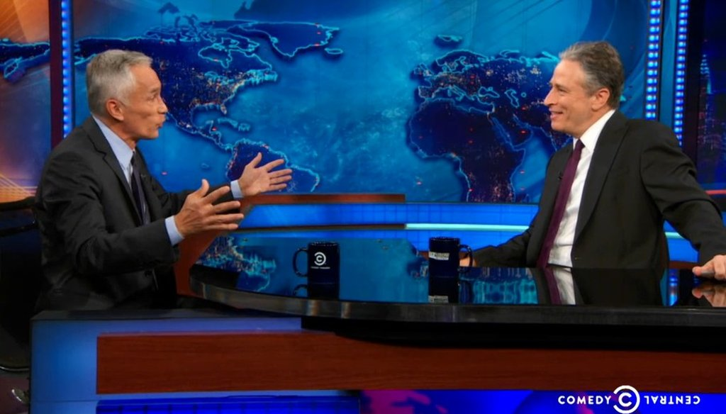 """Univision anchor Jorge Ramos appeared on the Dec. 5, 2013, episode of the """"Daily Show."""""""