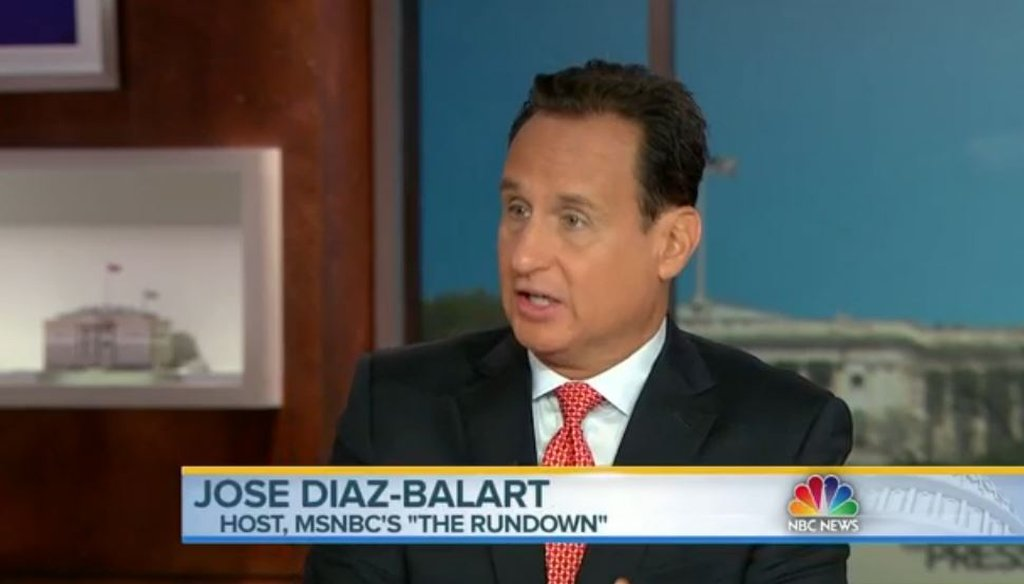 "Jose Diaz-Balart reacts to immigration comments from Republicans Donald Trump and Pat Buchanan in the July 26 episode of ""Meet the Press."" (Screenshot)"
