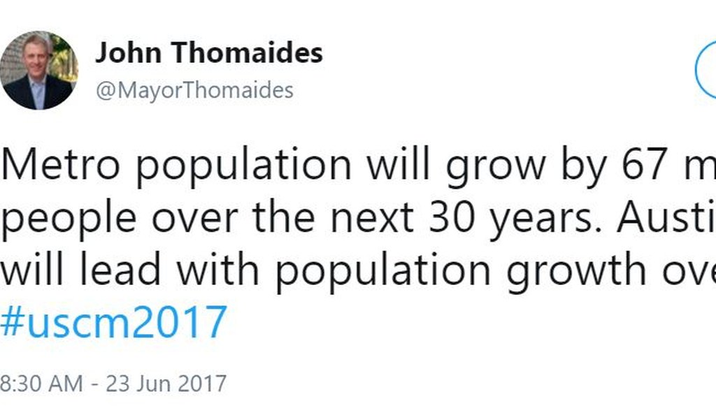In this June 2017 tweet, San Marco Mayor John Thomaides said the Austin metro region will outgrow every other region by 2046.