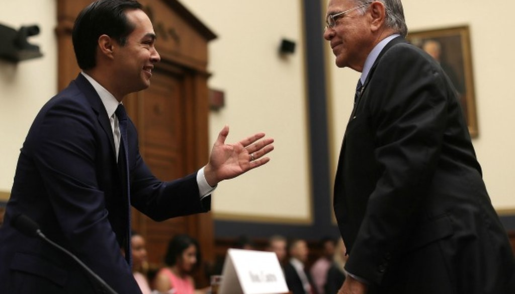 Rep. Ruben Hinojosa, right, made a True claim about the share of Hispanic college students relying on Pell grants (Getty Images, Alex Wong).