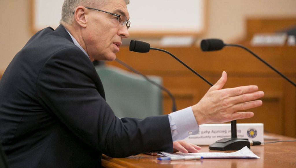 Steve McCraw, Director of the Texas Department of Public Safety, speaks about border security at a House Appropriations hearing at the state Capitol in 2018. JAY JANNER / AMERICAN-STATESMAN