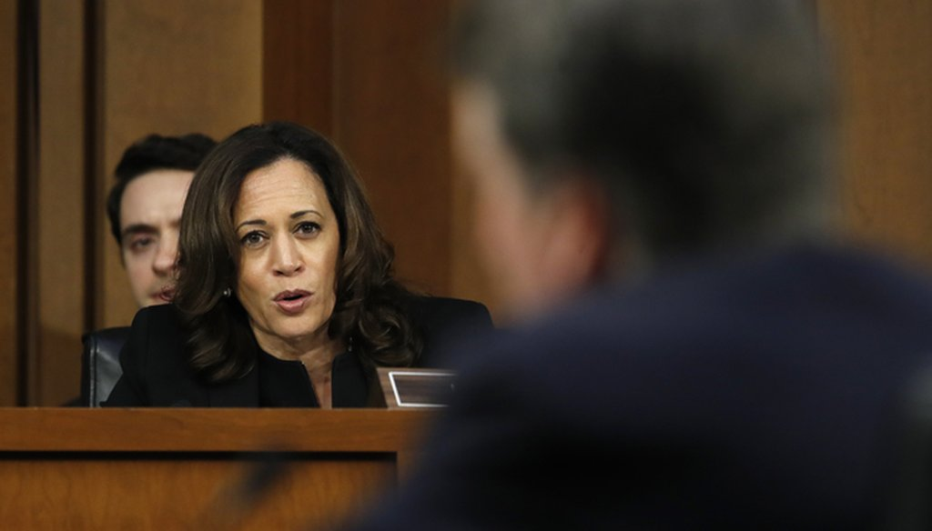 California Sen. Kamala Harris questions Judge Brett Kavanaugh in September 2018. Associated Press file photo