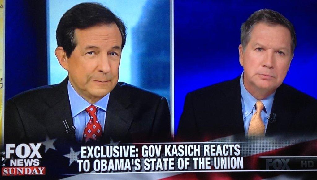 "Ohio Gov. John Kasich appeared on ""Fox News Sunday"" on Jan. 25, 2015."