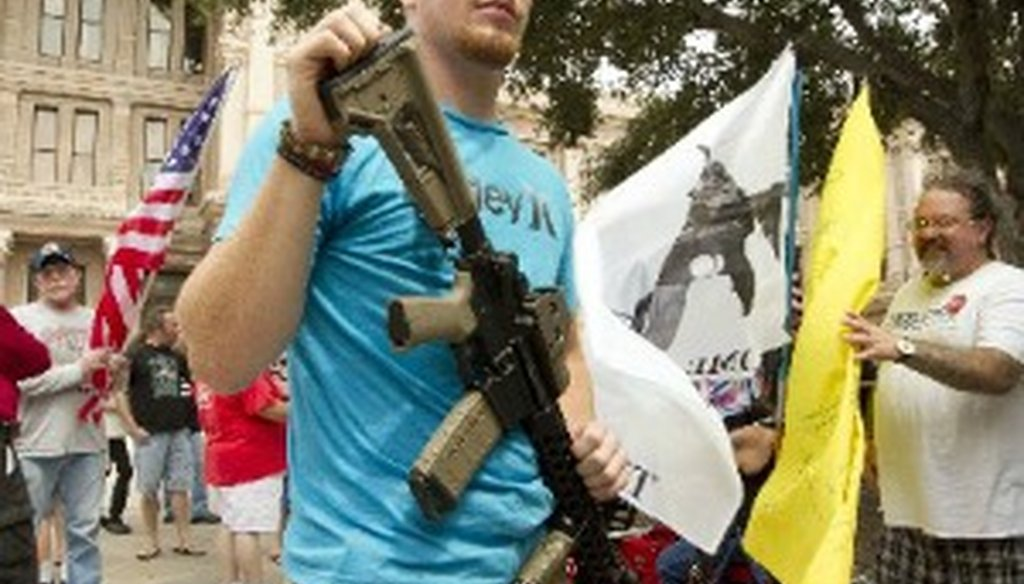 A Katy resident carried this rifle at a Texas Capitol rally on Sept. 17, 2013 (Austin American-Statesman, Jay Janner)