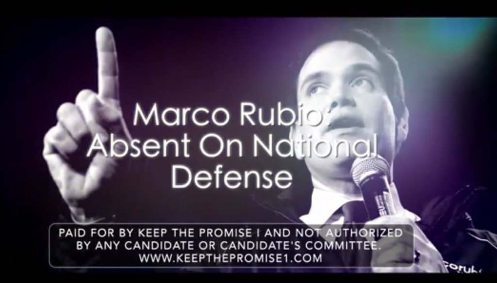 Keep the Promise, a PAC supporting Ted Cruz, attacks Marco Rubio for missed Senate votes on defense in this ad.