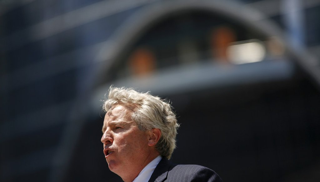 Chris Kennedy speaks at a ribbon cutting ceremony for the new Wolf Point development on June 15 2016 in Chicago, Ill. (Jose M. Osorio/Chicago Tribune/TNS via Getty Images)