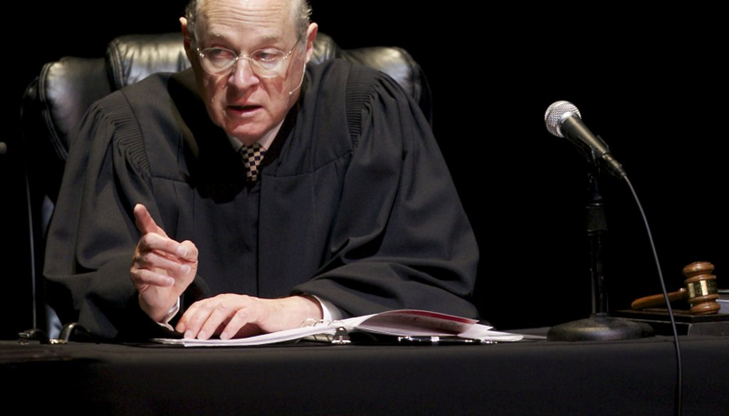 """U.S. Supreme Court Justice Anthony Kennedy presides over a representation of """"The Trial of Hamlet"""" at the Shakespeare Center of Los Angeles."""