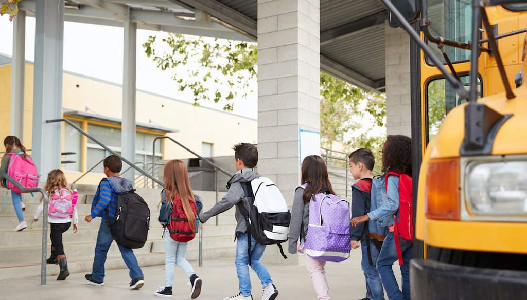 Elementary students showing up for school. (Shutterstock)