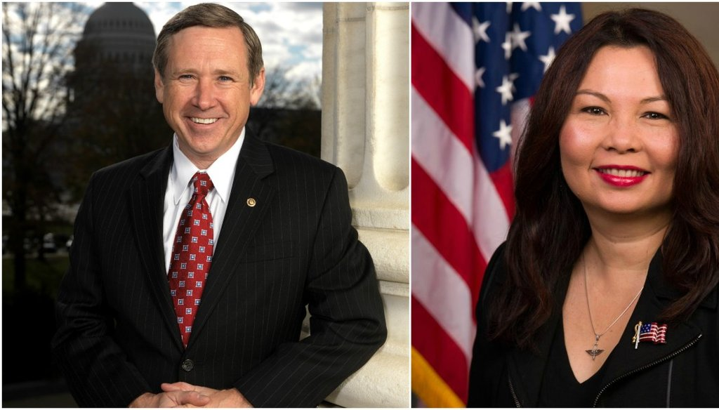 Incumbent Sen. Mark Kirk and Democratic opponent Rep. Tammy Duckworth.