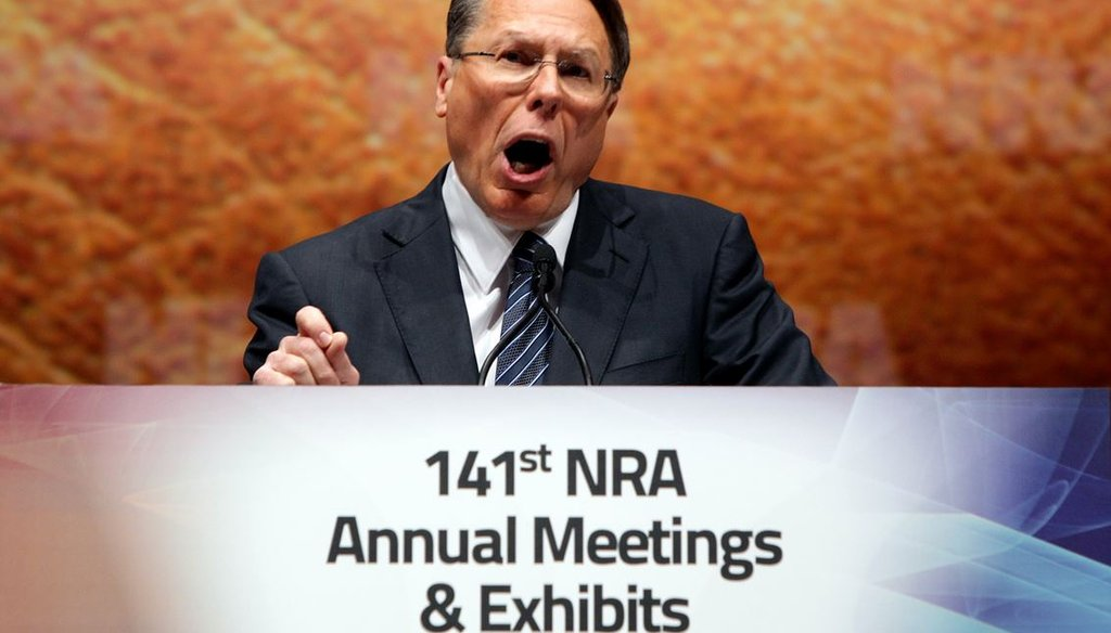NRA Executive Vice President Wayne LaPierre speaks at the group's national convention in St. Louis April 14, 2012. (AP Photo/St. Louis Post-Dispatch, Christian Gooden)