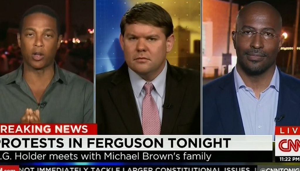 CNN's Don Lemon, left, argued with Ben Ferguson, center, saying that it is relatively easy to buy an automatic weapon.