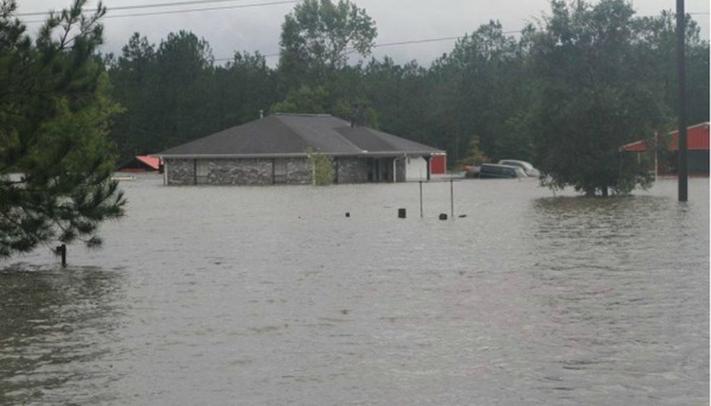 In 2017, many Texas homes were swamped by Hurricane Harvey and related flooding--including this house in Lumberton. PolitiFact Texas looked into the tally of people left without homes (PHOTO: Contributed to Westlake Picayune).