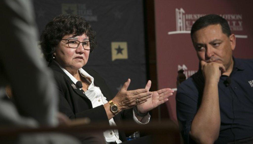 Democratic gubernatorial hopeful Lupe Valdez, shown here at a January 2017 Texas Tribune event, said unauthorized immigrants account for 1.6 percent of crime--a claim we rated HALF TRUE (Reshma Kirpalani/Austin American-Statesman photo).
