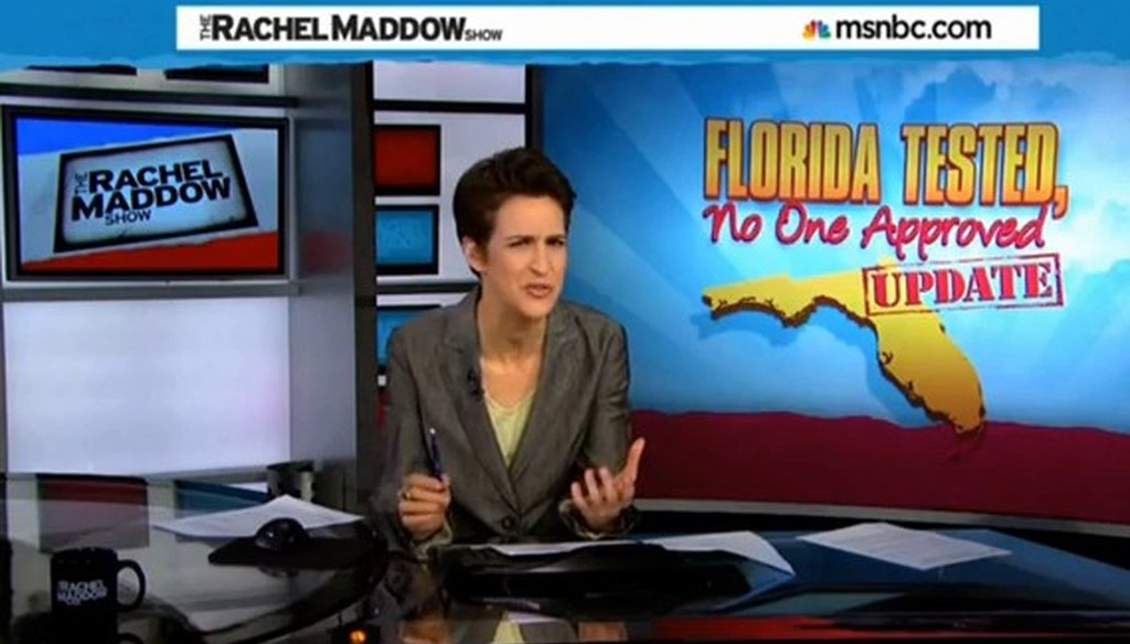 Rachel Maddow says a Florida group that promoted a law requiring drug testing for welfare recipients is an affiliate of the Koch brothers.