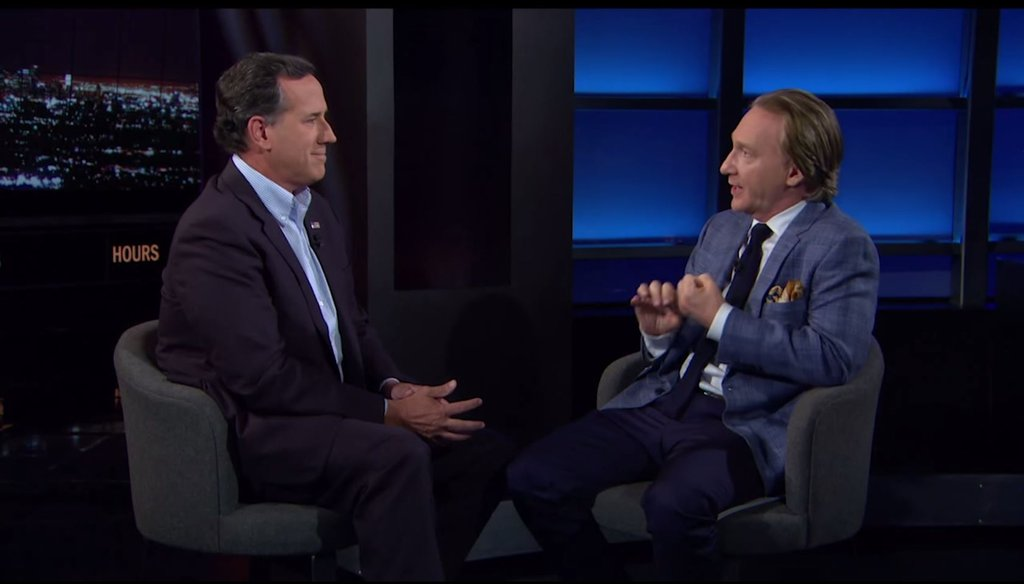 GOP candidate Rick Santorum and Bill Maher talk climate change on Maher's HBO show. (Screengrab)