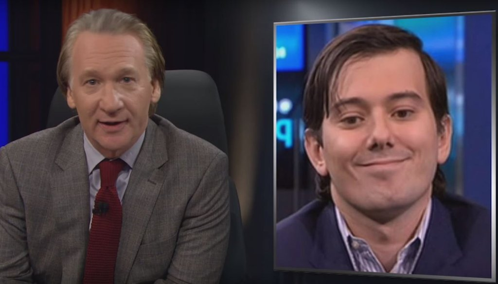 """HBO talk show host Bill Maher discusses high pharmaceutical costs on an Oct. 2, 2015 episode of the HBO show """"Real Time."""" (Screengrab)"""