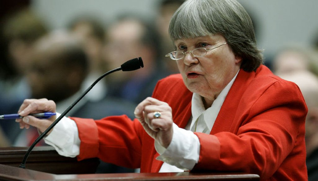 Marion Hammer, a lobbyist for the National Rifle Association, speaks in favor of gun legislation in Tallahassee in 2007. (AP photo)