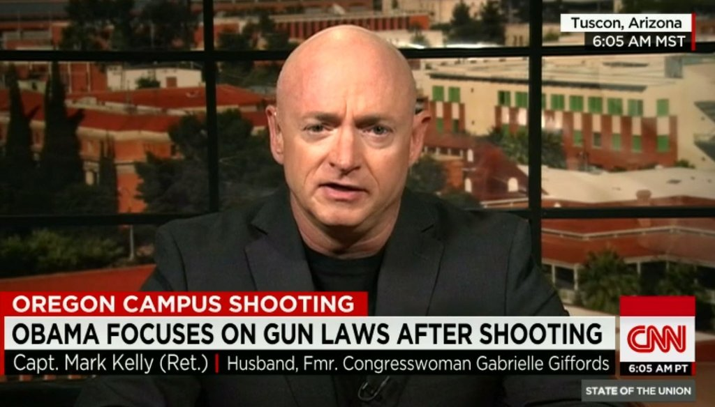 "Capt. Mark Kelly, husband of Rep. Gabby Giffords, discusses gun policy with Jake Tapper on CNN's ""State of the Union"" on Oct. 4, 2015, following the school shooting in Roseburg, Oregon."