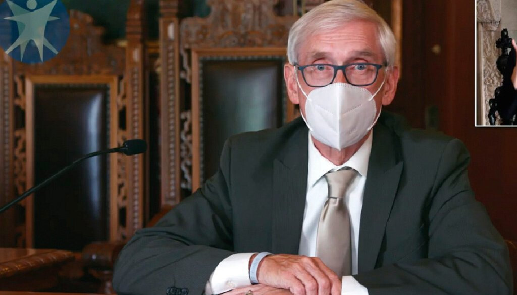 Gov. Tony Evers speaks during a media briefing on the coronavirus pandemic. File photo