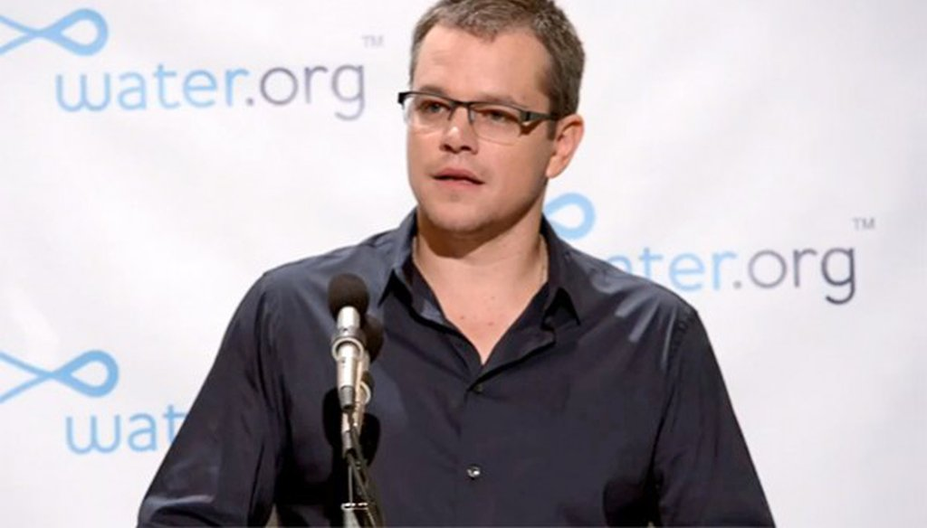 """Matt Damon talked about the need to increase access to clean drinking water on the March 23, 2014, episode of ABC's """"This Week."""""""