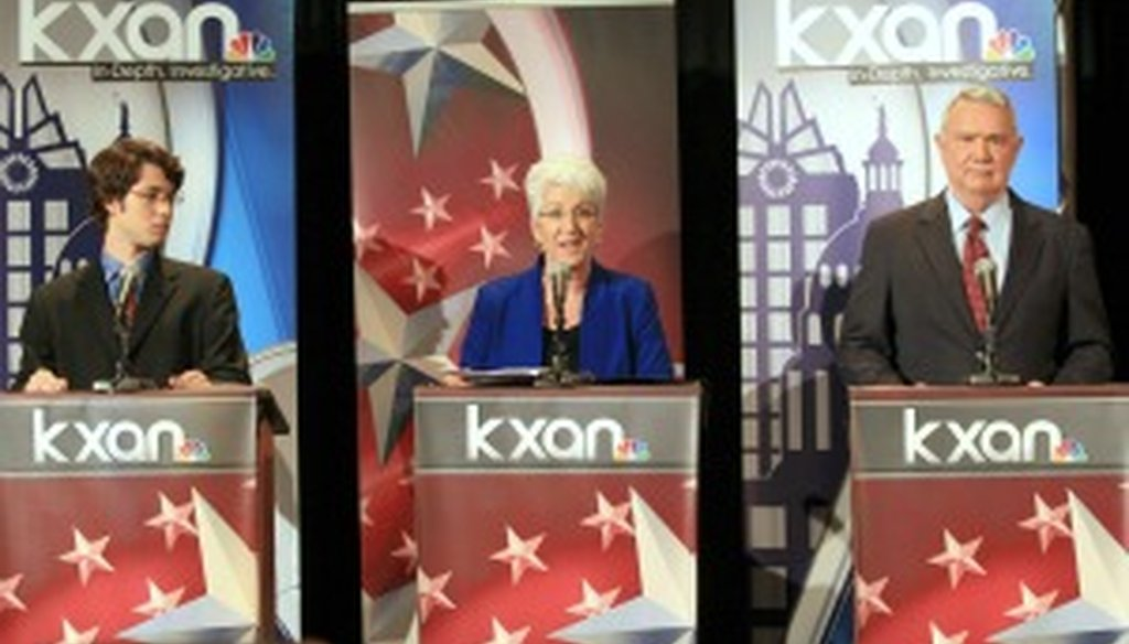 Austin mayoral candidates Clay Dafoe, Brigid Shea and Lee Leffingwell debate April 16, 2012. Jay Janner photo/Austin American-Statesman