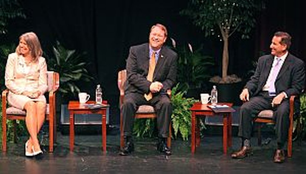 From left, Kathleen Ford, Bill Foster and Rick Kriseman debated Aug. 6 at the Tampa Bay Times/Bay News 9 mayoral forum.