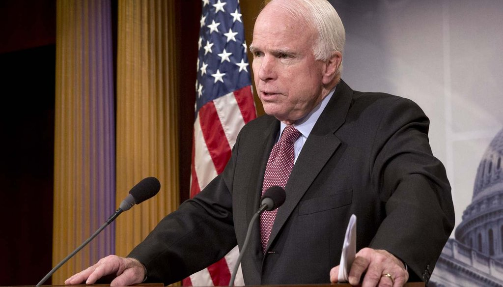 Sen. John McCain, R-Ariz., discusses the federal prison at Guantanamo Bay, Cuba, Tuesday, Jan. 13, 2015, during a news conference. (AP Photo/Jacquelyn Martin)