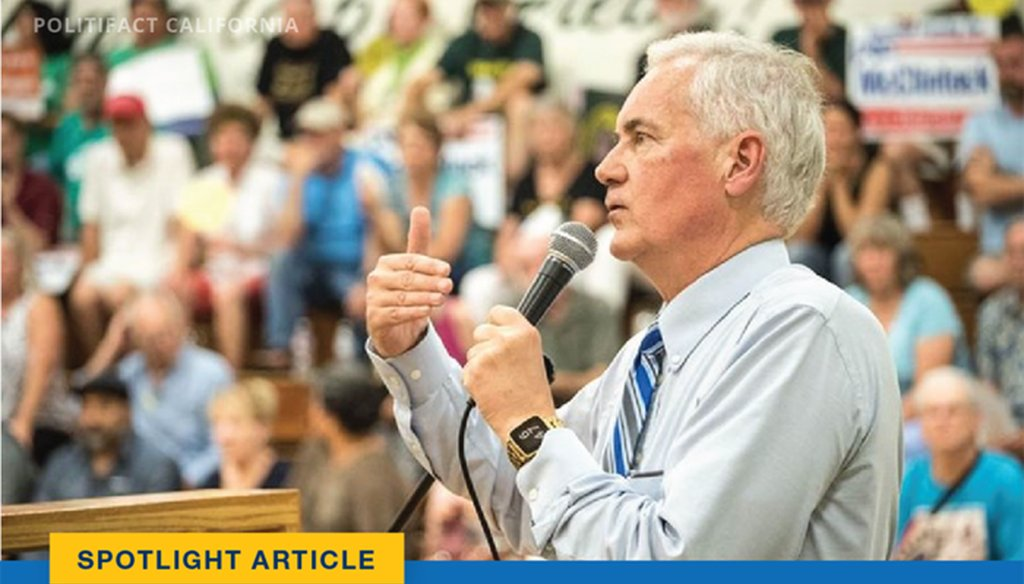 "Rep. Tom McClintock, R-CA, recently claimed California has a ""policy of releasing dangerous criminal illegal aliens back into our communities."" Graphic by PolitiFact California"