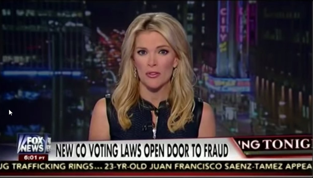 "Megyn Kelly took on a new election law in Colorado during the Oct. 21, 2014, edition of ""The Kelly File"" on Fox News."