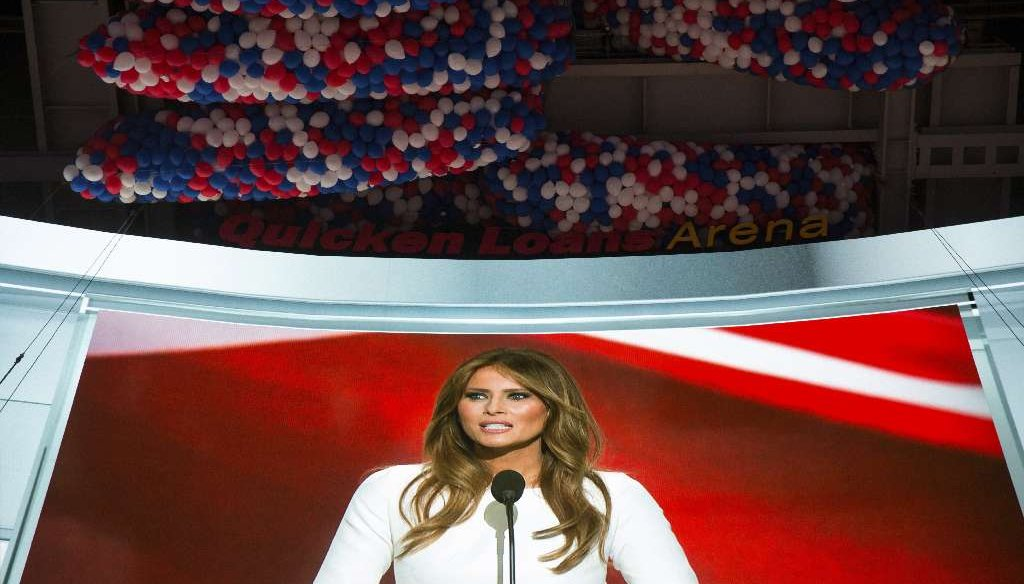 Melania Trump speaks during the Republican National Convention at the Quicken Loans Arena in Cleveland, July 18, 2016. (Getty)