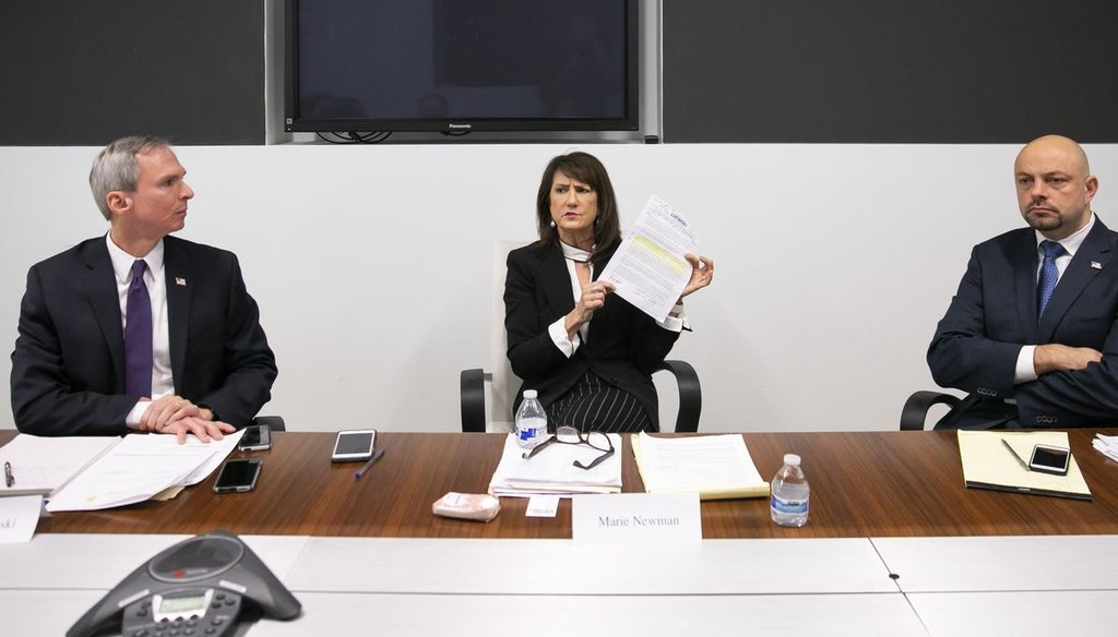 From left, Daniel Lipinski, 3rd Congressional District candidate and incumbent, and his opponents, Marie Newman and Rush Darwish, met with the Chicago Sun-Times Editorial Board Wednesday, Jan. 22, 2019. | Rich Hein/Sun-Times
