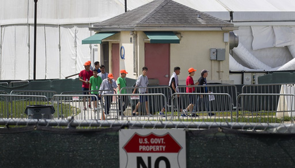 Young people walk the grounds of the Homestead Temporary Shelter for Unaccompanied Children July 15, 2019 in Homestead, Fla. (Getty Images)
