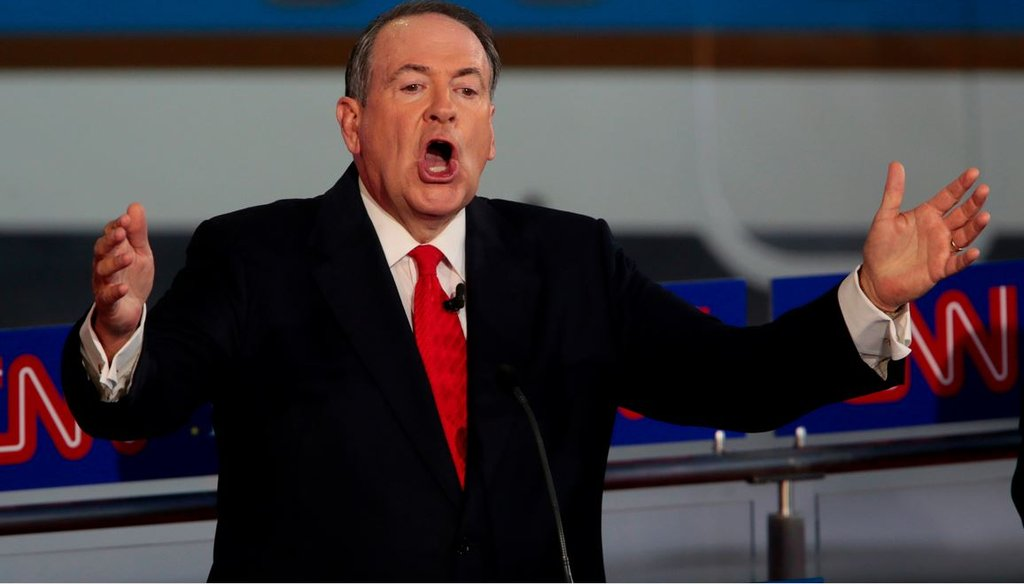 Republican presidential candidate Mike Huckabee on the debate stage at the Reagan Library in Simi Valley, Calif., on Sept. 16, 2015. (Robert Gauthier/Los Angeles Times/TNS)