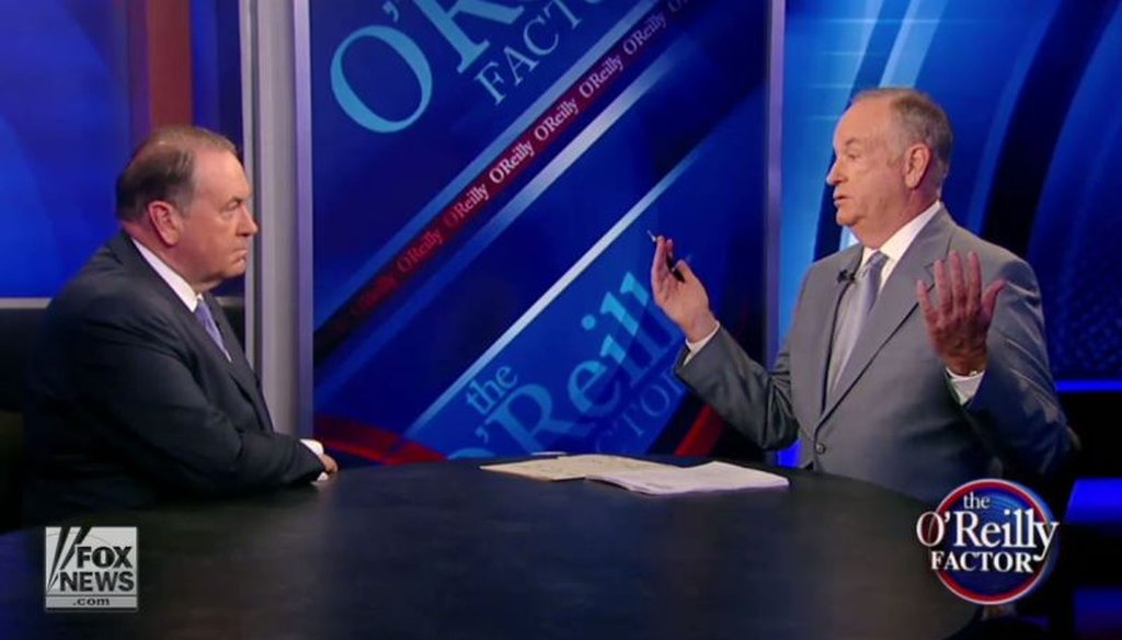 "Bill O'Reilly grills GOP presidential candidate Mike Huckabee about his controversial remarks comparing the Iran nuclear deal to the Holocaust in a July 27, 2015, episode of ""The O'Reilly Factor."" (Screenshot)"