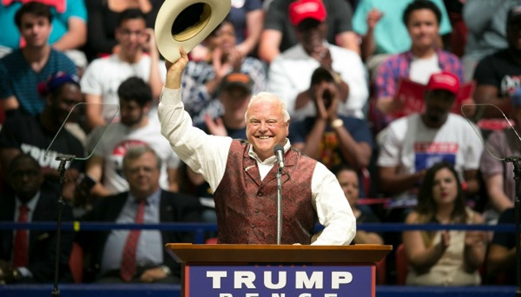 SidMiller, shown here at a Donald Trump rally in Austin, made a Half True claim about counseling safe space at a Texas university (Austin American-Statesman photo, Jay Janner).