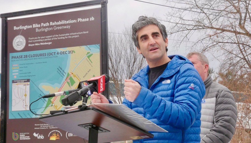 Miro Weinberger announces the completion of a bike path in Burlington in 2017. Photo by Cory Dawson/VTDigger