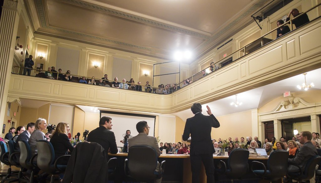 Burlington Mayor Miro Weinberger speaks to the city council on April 1, 2019. Photo by Glenn Russell/VTDigger