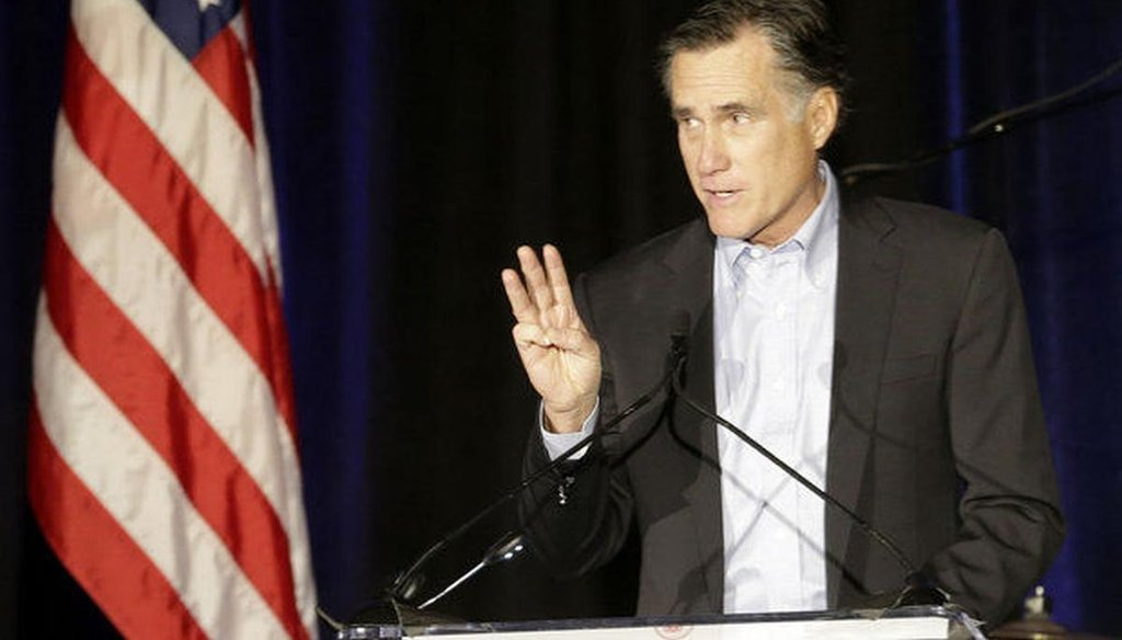 Mitt Romney deepened speculation about a possible third run for the presidency in a winter meeting of the Republican National Committee in San Diego on Jan. 16. AP photo.