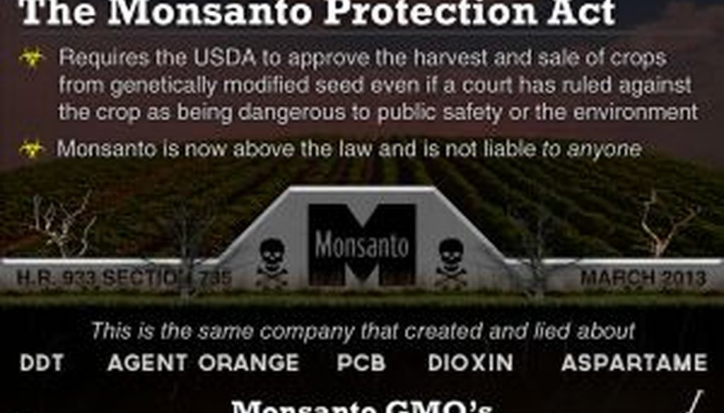 This Facebook post made dire warnings about Monsanto products.