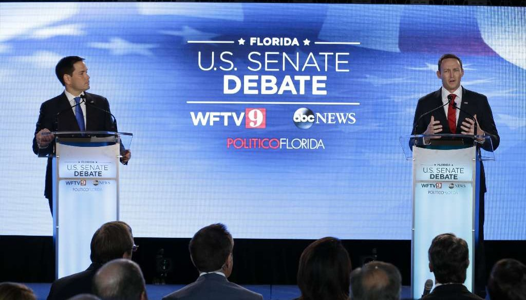 U.S. Sen Marco Rubio and U.S. Rep. Patrick Murphy debate on Oct. 17, 2016, at the University of Central Florida in Orlando. (AP photo)