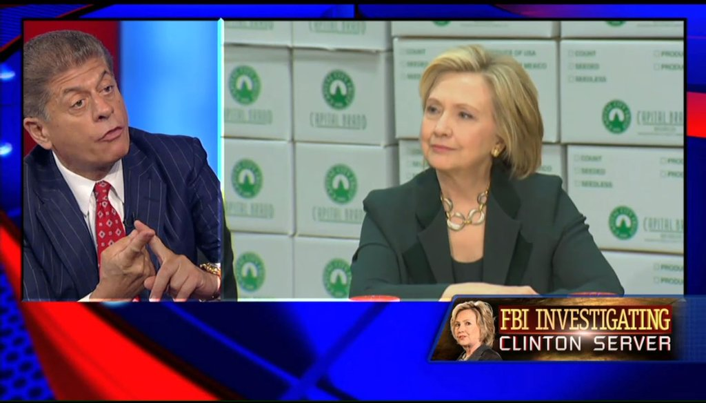 "Fox News legal analyst Andrew Napolitano said Hillary Clinton sent classified information over her private email server, in an appearance on Fox News' ""Hannity"" Aug. 5, 2015. (Screenshot)"