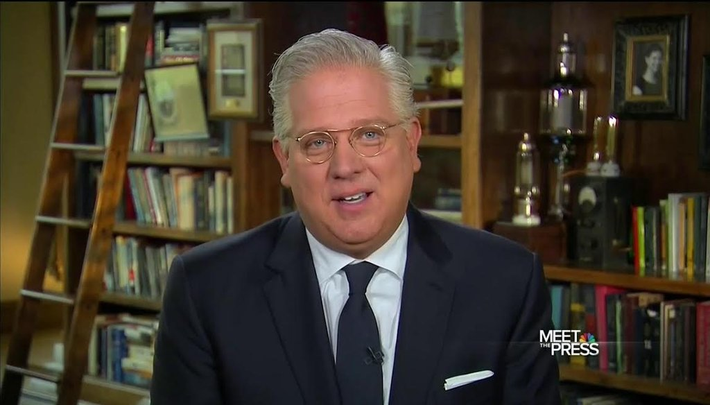 "Conservative commentator and Ted Cruz supporter Glenn Beck explains why he will never support Donald Trump as the GOP presidential nominee on the April 10, 2016, edition of ""Meet the Press."" (NBC photo)"