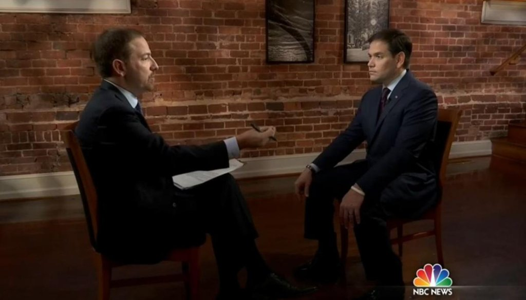 "GOP presidential candidate Marco Rubio answers questions from NBC's Chuck Todd in an interview that aired Dec. 13, 2015, on ""Meet the Press."" (Screenshot)"